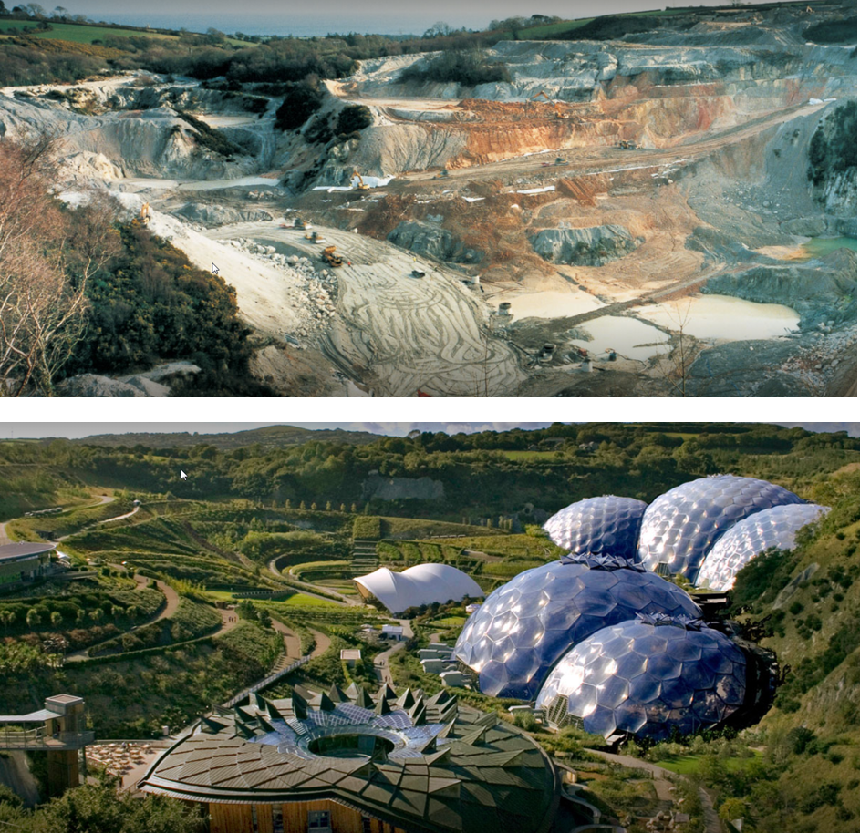 Transformation of a china clay pit mine into the Eden Project tourist attraction - a good example of sustainable mining activity.