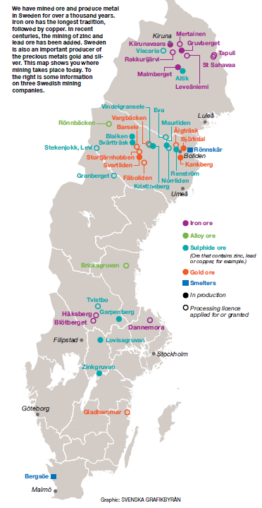 Mine locations in Sweden